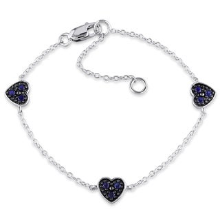 Miadora Sterling Silver Created Blue Sapphire Heart Bracelet