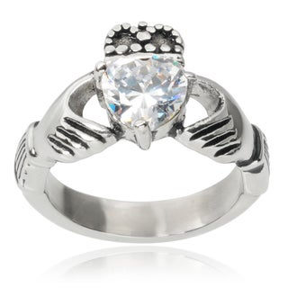 Tressa Collection Stainless Steel Cubic Zirconia Claddagh Ring