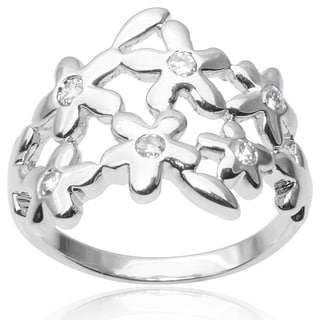 Tressa Collection Sterling Silver Cubic Zirconia Flower Ring