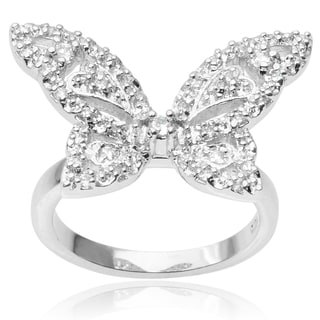 Tressa Collection Sterling Silver Cubic Zirconia Butterfly Ring