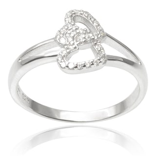 Tressa Collection Sterling Silver Cubic Zirconia Double Heart Ring