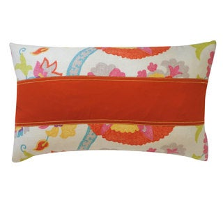 Amapola Pieces Red Floral 12x20-inch Pillow