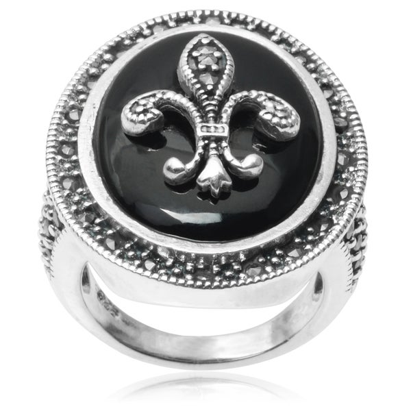 Journee Collection Sterling Silver Marcasite Fleur-di-lis Ring
