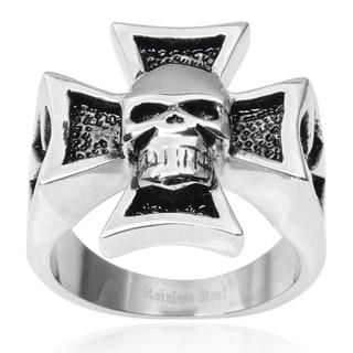 Vance Co. Men's Stainless Steel Iron Cross Skull Ring