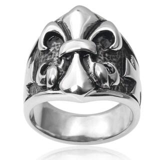 Vance Co. Men's Stainless Steel Fleur-de-lis Cross Ring