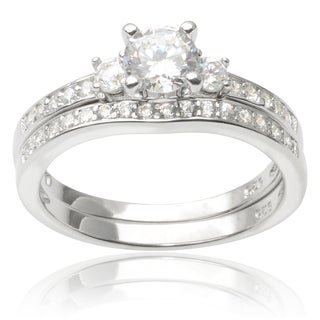Tressa Collection Sterling Silver Cubic Zirconia Wedding Ring Set