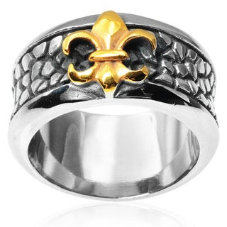 Vance Co. Men's Stainless Steel Fleur-de-lis Band (12 mm)