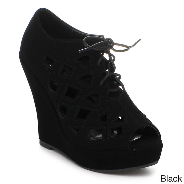 DELICACY ERIKA-49 Women's Lace Up Front Wedges