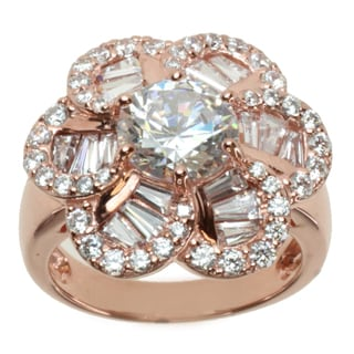 "Michael Valitutti Signity Rose Gold over Silver Cubic Zirconia ""Flower"" Ring"