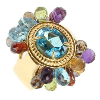 Michael Valitutti Two-tone Swiss Blue Topaz and Multi-gemstone Ring