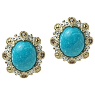 Michael Valitutti Two-tone Kingman Turquoise and Chocolate Zircon Earrings