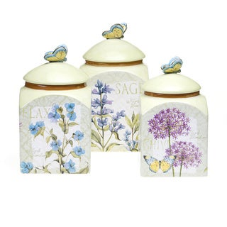 floral ceramic kitchen canisters
