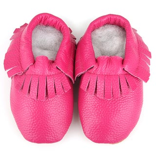 Augusta Baby Infant Girls Pink Leather Soft-sole Fringe Baby Shoes