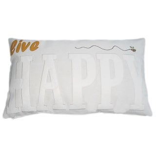 Contemporary Neutral Inspirational Word Applique Lumbar Throw Pillow