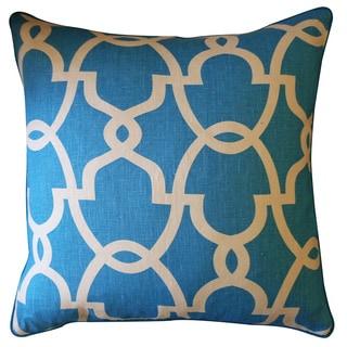 Dean Turquoise Cream Geometric 20x20-inch Pillow