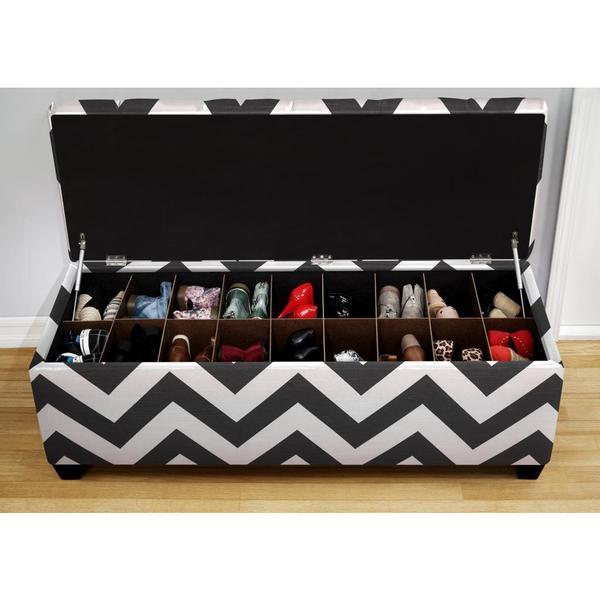 The Sole Zippy Charcoal Secret Shoe Storage Bench