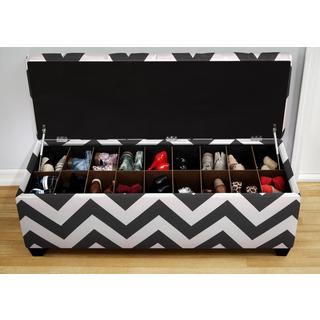The Sole Zippy Charcoal Secret Shoe Storage Bench