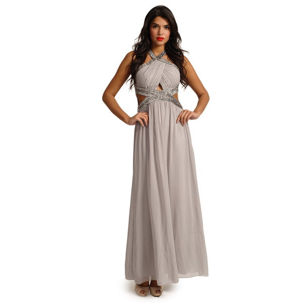 Little Mistress Women's Smoke Grey Embellished Keyhole Halterneck Maxi Dress