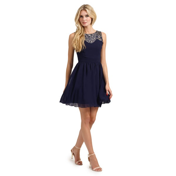 Little Mistress Women's Navy Embellished Lace Detail Sweetheart Neckline Dress