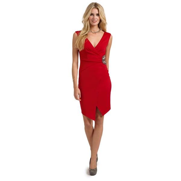 Little Mistress Women's Red Embellished Waist Plunge Wrap Hem Bodycon Dress