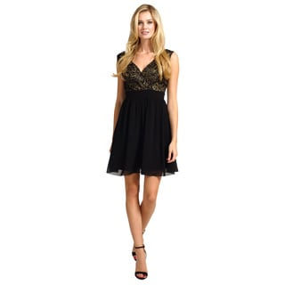Little Mistress Women's Black and Gold Sequin Dress