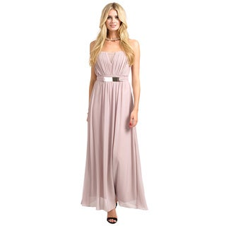 Little Mistress Women's Mink Pleated Belted Bandeau Chiffon Maxi Dress