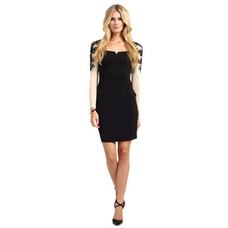 Little Mistress Women's Black and Cream Embellished Floral Applique Long Sleeve Bodycon Dress