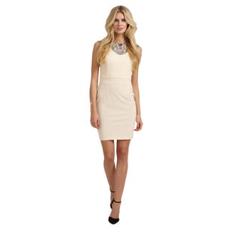 Little Mistress Women's Cream Embellished Neck Bodycon Dress