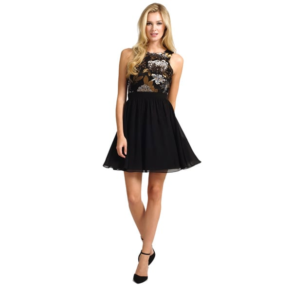 Little Mistress Women's Sequin Top Black Skirt Dress
