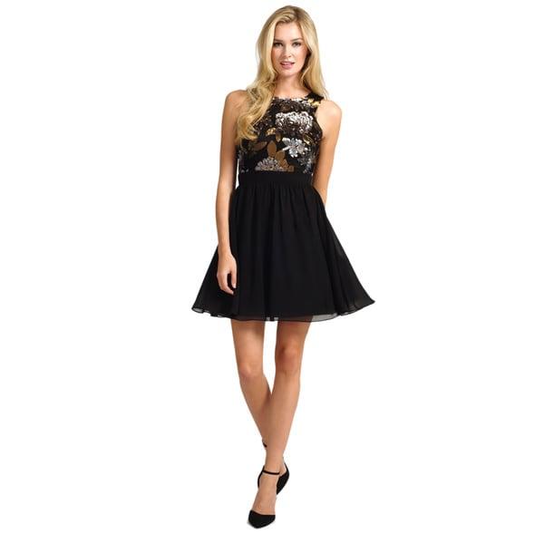 Little Mistress Women's Sequin Top Black Skirt Dress