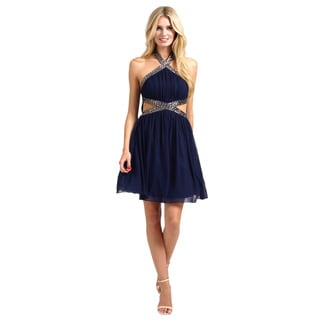 Little Mistress Women's Navy Halterneck Embellished Mesh Detail Dress