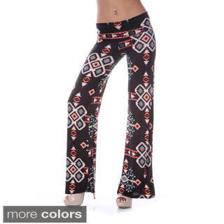 White Mark Women's Western Print Palazzo Pants