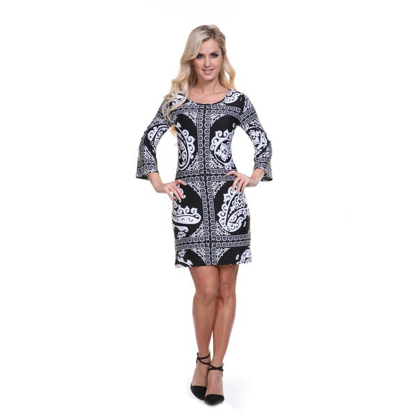 White Mark Women's 3/4-length Bell Sleeve Dress