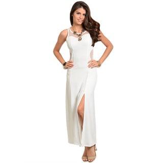 Feellib Women's Sleeveless Column Style Maxi Dress with Sheer Mesh Neck / Back