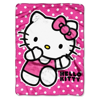 Hello Kitty Run Kitty Royal Plush Raschel Throw Blanket
