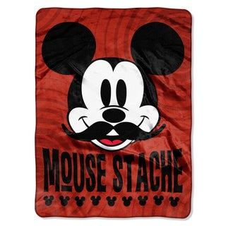 Mickey Mouse-Stache Royal Plush Raschel Throw Blanket