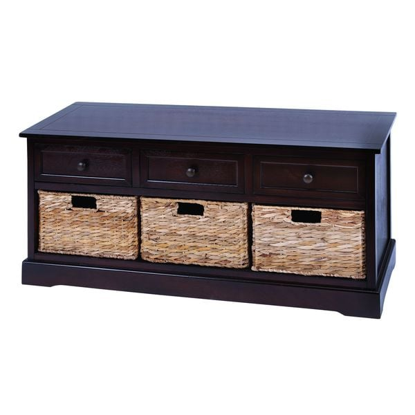 Cabinet With 4 Vertical Wicker Baskets 16324742