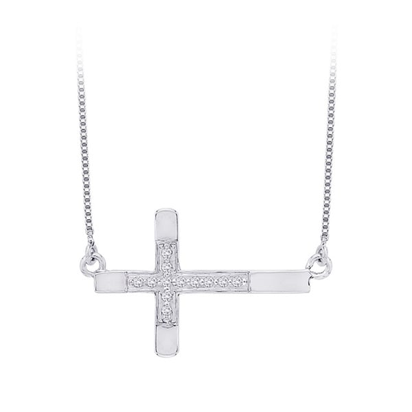 10k White Gold Diamond Accent Sideways Cross Necklace