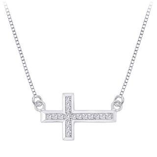 10k White Gold 1/4ct TDW Diamond Sideways Cross Necklace (J-K, I1-I2)