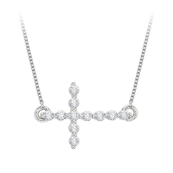 10k White Gold 1/4ct TDW Diamond Sideways Cross Necklace (J-K, I2-I3)