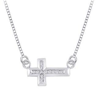 10k White Gold 1/8ct TDW Channel Diamond Sideways Cross Necklace (G-H, I2-I3)