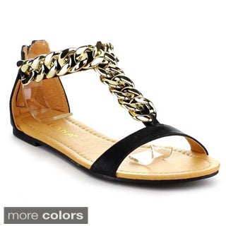 LILIANA AURORA-122 Women's T-strap Flat Sandals