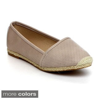 Reneeze JUNE-02 Women's Slip On Flats with Espadrille Trim