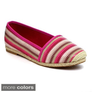 Reneeze JUNE-03 Women's Slip On Flats with Espadrille Trim