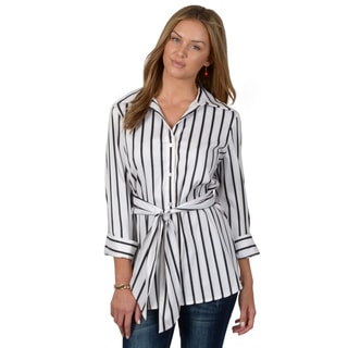 Journee Collection Women's Striped Long Sleeve Button-up Shirt