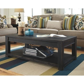 Signature Designs by Ashley Gavelston Black Rectangular Cocktail Table