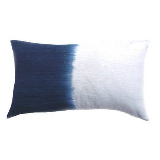 Contemporary Indigo Blue Hand-dipped Dye Ombre Silk Lumbar Pillow