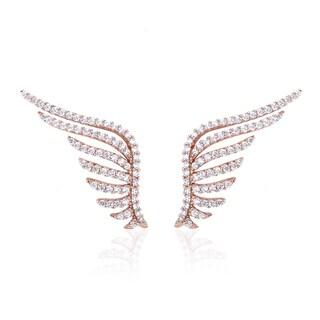 Blue Box Jewels Rose Goldplated Silver Premium EQ Star Cubic Zirconia Angel Wing Stud Earrings