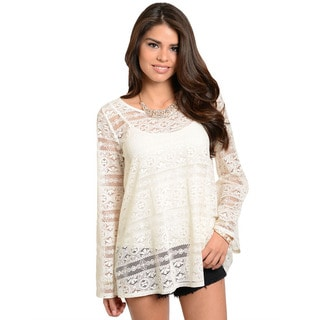 Feellib Women's Boho Theme Crochet Top with Flared Long Sleeves