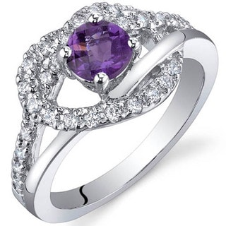Oravo Sterling Silver Prong-set Gemstone and Cubic Zirconia Ring